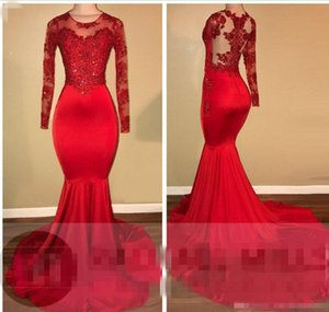 Wholesale 2018 Red Sheer Long Sleeves Satin Mermaid Evening Dresses Crew Neck Lace Applique Beaded Sweep Length Party Prom Gowns