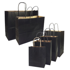 Wholesale 20 Gift Bags With Handles Multi function High end Black Paper Bags Size Recyclable Environmental Protection Bag