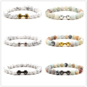 Wholesale 3 colors Dumbbell Charms Strand Bracelet mm White Grey Stone Beads Bracelets Buddha Yoga Strench Jewelry