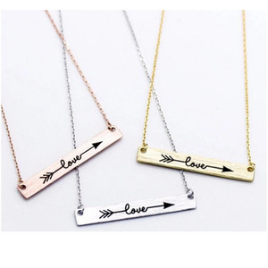 Wholesale Beichong New Design Stainless Steel Pendant Love Be brave Struck Bar Pendant Necklace for Women girl jewelry gift