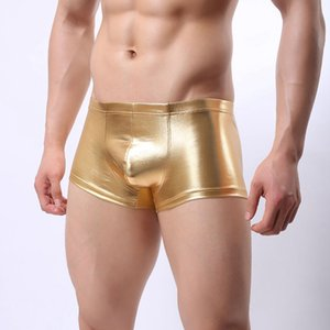 Wholesale 2018 Sexy Faux Leather Underwear Men U Convex Pouch Panties Boxers Shorts Gay Underpants Erotic Black Silver Gold Male Boxer