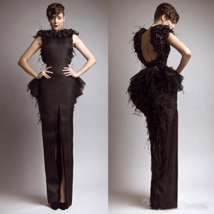 Wholesale Vintage Formal Krikor Jabotian Black Evening Dresses with Feather Satin Sheath Backless Front Split Party Gown Cap Sleeves Prom Dress