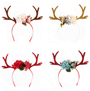 Christmas Headband Elk Deer Antlers Ear Hair Hoop with Flowers Antlers Costume Ear Party Hair band Floral Hairband