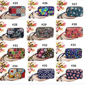 Wholesale Women Wallet Canvas Fabric Zipper Lady Purs Water Repellent Wristlet Wallet Clutch Cell Phone Purse XL Cosmetic Pouch