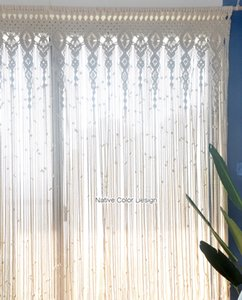 Macrame Wedding Decoration for Reception Boho Fiber Curtain Wall Hanging Macramé Handwoven Backdrop Bohemian 100 x 180 cm