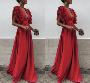 New Arrival Elegant Red Evening Dresses With Sleeveless Sexy Deep V Neck Satin Dresses Evening Dresses Sweep Train on Sale