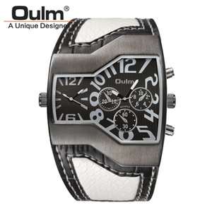 выпуклые часы оптовых-Oulm Watches Men Sport Casual PU Leather Wristwatch Convex Face Wide Strap Decorative Small Dials Male Quartz Watch