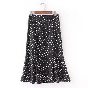 Wholesale 2018 Women Vintage polka dot trumpet midi skirt ladies fashion fake zippers casual slim ruffles business mid calf skirts QUN080
