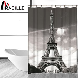 Wholesale Miracille Modern French Eiffel Tower Shower Curtain Waterproof Polyester Fabric Bathroom Curtains Home Accessory