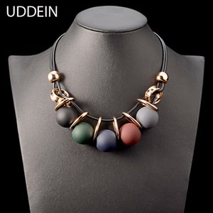 Wholesale whole saleUDDEIN Black leather chain plastic gem statement choker necklace pendant party jewelry gift collier vintage maxi necklace