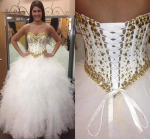 Wholesale 2018 Gold Beading White Ball Gown Quinceanera Dresses Custom Made Beaded Off Shoulder Prom Dress Long Formal Party Gowns