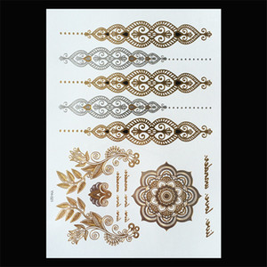 Wholesale henna style hand tattoos for sale - Group buy 120 Styles Flash Metallic Waterproof Temporary Tattoos Tattoo Supplies Gold Silver Tatoo Women Henna Flower Temporary Tattoo Stick Paster