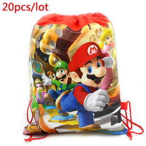 Wholesale 20pcs Decorate Events Party Super Mario Theme Baby Shower Mochila Boys Favors Backpack Happy Birthday Drawstring Gifts Bags