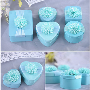 Wholesale Romantic Tin Wedding Candy Box Heart Round Square Rectangle Shape To Choose Creative Sunflower Candy Box Party Gift Box