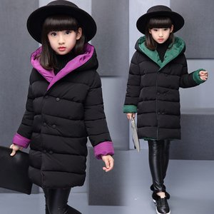 Winter Girls Jacket & Coat Fashion Solid Long Both Sides Wear Cotton Parka Down Coats Children Girls Clothing Outwears on Sale