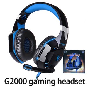 Wholesale Kotion EACH G2000 Computer Stereo Gaming Headphones Best Casque Deep Bass Game Earphone Headset With Mic LED Light For PC Gamer With Package