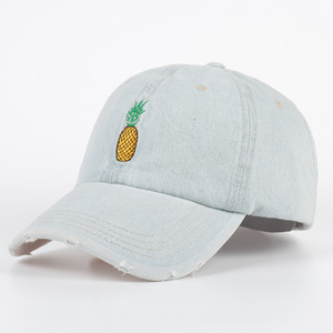 Wholesale Pineapple Embroidery Distressed Denim Dad Hat Baseball Cap Snapback Curved Bill PINEAPPLE Emoji Hat Unconstructed cap gorras