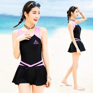 Wholesale VERZY Pretty One Piece Swimsuit Skirt Women Beach Swimwear Dress Beach Cute Sexy A Line Print Young Ladies Bathing Suit SQ18047
