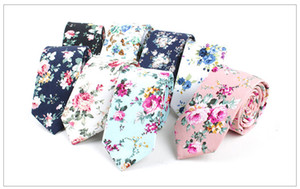 Wholesale 10 Styles Floral Ties For Men Skinny Mens Ties Gravatas Slim Corbatas Vestidos Wedding Cotton Groom Neck Tie Cravat Necktie