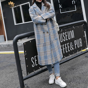 Wholesale Mulena Vintage Plaid Long Woolen Coat Women Loose Full Sleeves Double Breasted Office Lady Coats Winter Warm Outerwear Female