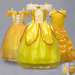 Wholesale Girls Princess Dress Up Cosplay Costume Yellow Party Dresses Children Halloween Christmas Ball Gown Dress HH7