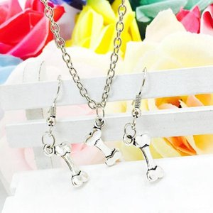 Wholesale Hot Popular Antique Silver Dog Bones Charms Pendant Necklace Earring Set Fashion Creative Women Jewelry Accessories Holiday Gift