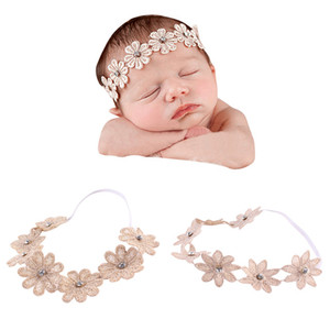 Wholesale Baby Headband Elegant Sunflower Head Band Baby Girls Elastic Headband Stretchable Beautiful Linen Flower Hairband Photoes Props Accessories