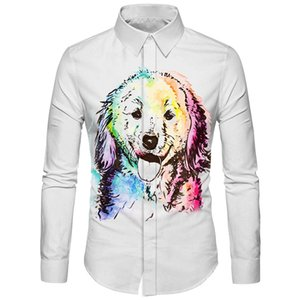 Wholesale Cloudstyle Colorized Dog Printed Men Shirt Funny Popular Design Hipster Streetwear Social Office Slim Dress Shirts Quality Tops