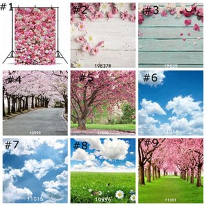 Wholesale Forest Trees Backdrops cherry blossom tree wallpaper decor spring grass flower Photography Backdrop Photo Props Studio Background 85*125cm