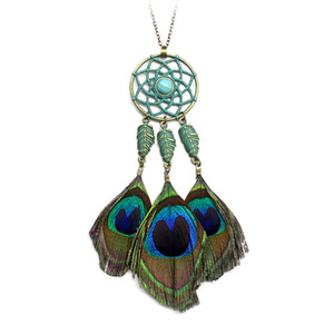 Wholesale Bohemia Peacock feather necklace Green Metal Dreamcatcher Stone Leave Long Pendant necklace for women Fashion Boho Jewelry Gift