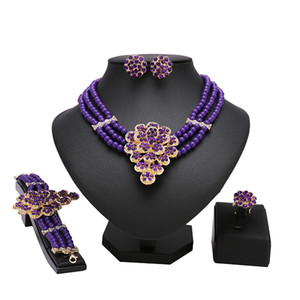 fashion New Africa Women Jewelry Set Resin Pendant Necklace Crystal Purple beads Earrings Wedding Jewelry Accessories Neck beaut