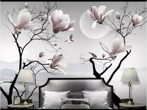 Wholesale painted flowers for walls chinese resale online - D photo wallpaper custom d wall murals wallpaper New Chinese Magnolia Flower Bird Wall Decorative Painting wallpaper for walls
