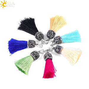 Wholesale CSJA Colors Buckle Silk Fringed Tassels for Necklace Earrings Bracelet Women Charms Jewelry DIY Making Rhinestone Beaded Cap Pendant E673