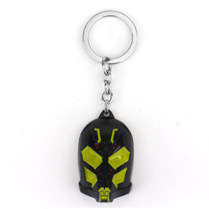 Wholesale MQCHUN Ant Man Logo Black Yellow Mask Keychain Movie Superhero Ant Man Zinc Alloy Key Ring For Fans Accessories