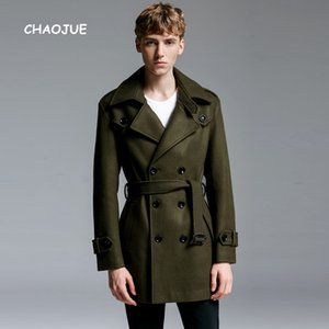Wholesale CHAOJUE Brand Europe Winter Wool Coat for mens Latest British Style Loose Woolen Outwear Business Man Army Green Overcoat