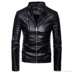 Hot Sale Mens PU Leather Jacket Short Slim Leisure Male Outwear Coat High Quality Casual Motorcycle Jacket Europe Size S-2XL on Sale
