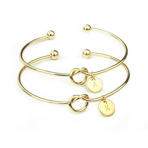 Wholesale 26 A Z English Letter Initial Bracelet Silver Gold Letter Charm Bracelet Love Bowknot Wristband Cuffs Women Jewelry Will and Sandy Dropship