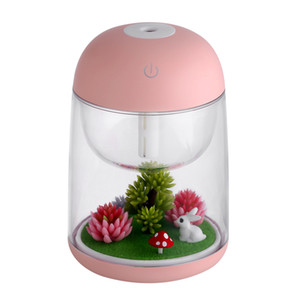 Mini Transparent Micro-landscape Air Humidifier Spray Air Purifier Aroma Diffuser Colorful Night Light for Home Office on Sale