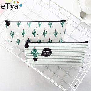 Wholesale eTya Quality New Style Coin Purses Women Pencil Storage Pouch Purse Organizer Cute Cactus Printing Makeup Bag Gift Students Bags