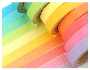 Wholesale Rainbow Paper Tape Candy solid Color Decorative Stickers Paper Masking tape per box