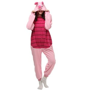 Wholesale Piglet Pig Women and Men Cartoon Kigurumi Polar Fleece Costume for Halloween Carnival New Year Party welcome Drop Shipping