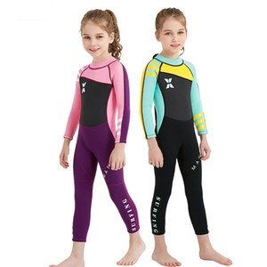 2.5MM long sleeve diving suit for boy girls children surfing stinger suits snorkeling uv protection bask in wear dive skin winter swimsuit