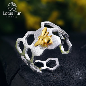 Lotus Fun Real 925 Sterling Silver Natural Handmade Fine Jewelry Honeycomb Open Ring Home Guard Gold Bee Rings for Women Bijoux D1892601