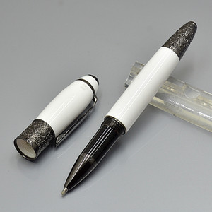 Wholesale ink prices resale online - price White metal Roller ball pen office stationery M nib calligraphy ink pens Gift