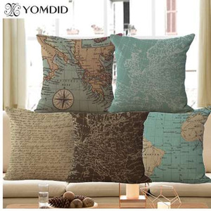 Wholesale Mediterranean nautical cushion cover world map decorative pillow case Linen cotton cojines decorativos for sofa car home