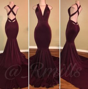 2020 Newest Arabic Dubai Burgundy Mermaid Evening Dresses Deep V Neck Sleeveles Criss Cross Backless Sweep Train Plus Size Party Prom Gowns on Sale
