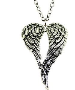 ingrosso catena di silve-Liberi la nave Tibetan Silve Vintage Style Angel Wings charms Collana a catena DIY