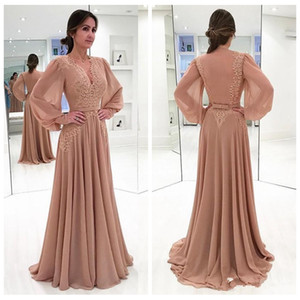 Elegant Lace Appliques Prom Dresses 2018 Sexy Deep V Neck Long Sleeves Chiffon Dubai Formal Evening Party Gown Vestidos Festa