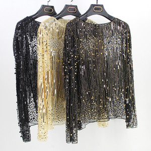 Wholesale High Street Runway Women Tunic Sexy Long Sleeve Perspective Gauze Mesh Lace Shirt Sequined Bead Diamond Embellished Blouse Top