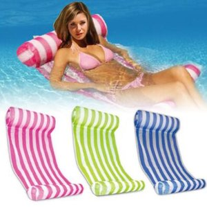 3 Colors Summer Swimming Pool Inflatable Floating Water Hammock Lounge Bed Chair Summer Inflatable Pool Float Floating Bed CCA9568 10pcs on Sale